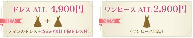 ドレス ALL 4,900円 (メインのドレス+安心の無料予備ドレス付) ワンピース ALL 2,900円(ワンピース単品)